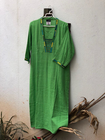 Parrot Green thread work kurta