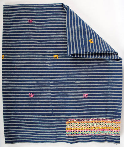 Hand Embroidered Blouse Piece Blue Stripes