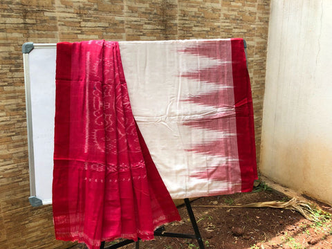 White with Red Sambalpuri Kargil Cotton Saree