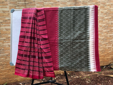 Grey with Maroon Sambalpuri Ikkat Cotton Saree