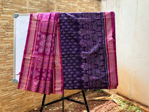 Dark purple with pink Sambalpuri Banda Cotton Saree