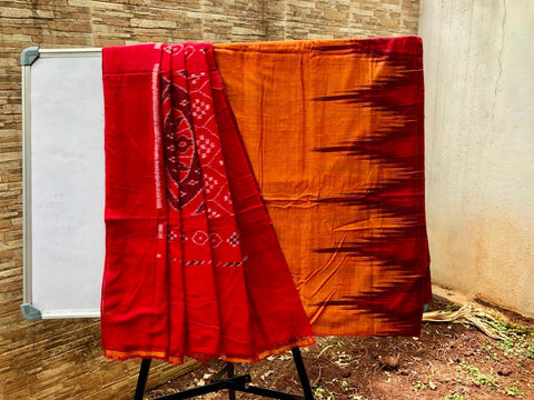 Orange with Red Kargil Cotton Saree