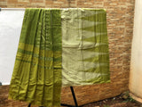 Pale greenish grey with olive Kargil Cotton Saree