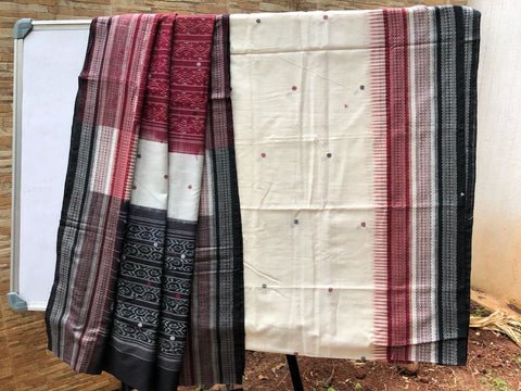 Off White with Red Sambalpuri Ikkat Cotton Saree