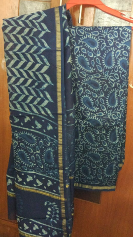 Indigo paisley hand printed cotton silk dress material