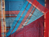 BLUE RED MAHESHWARI HANDWOVEN COTTON SILK SAREE