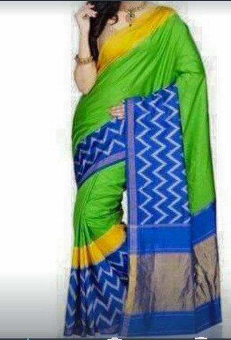 Parrot green ikkat silk saree