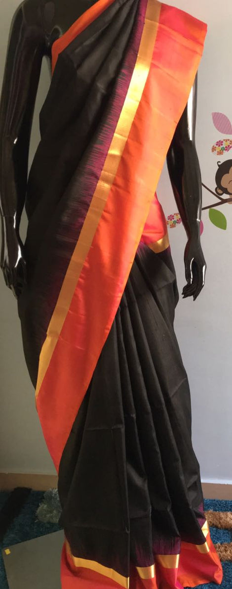 Black color kanchi soft silk saree