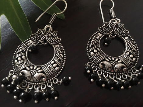 German Silver Dangler With Black Beads