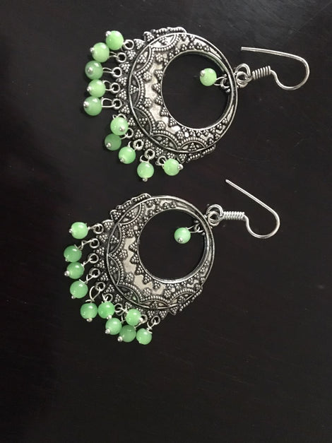 Green German Silver Dangler With Beads