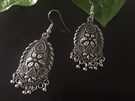 Leaf Shaped German Silver Jhumka