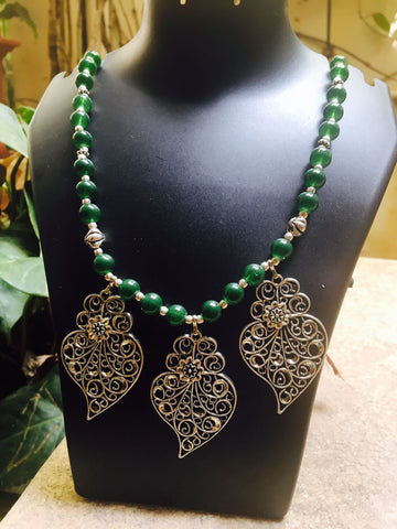 Green Beads german silver neckpiece