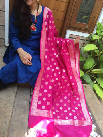 Pink Banarasi Silk Dupatta with Small Buttis