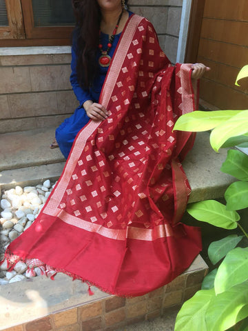 Maroon Banarasi Silk Dupatta with Small Buttis