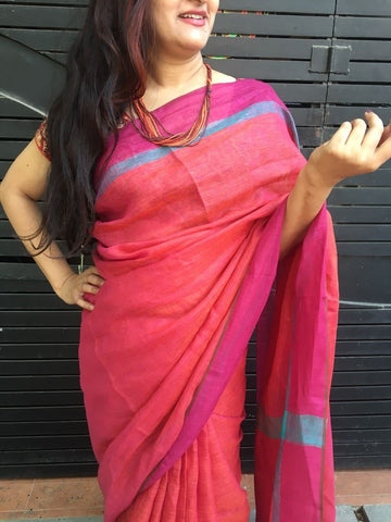 Red Colored Pure Linen Saree
