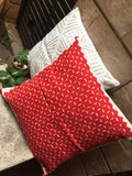 Red cutwork cushion cover