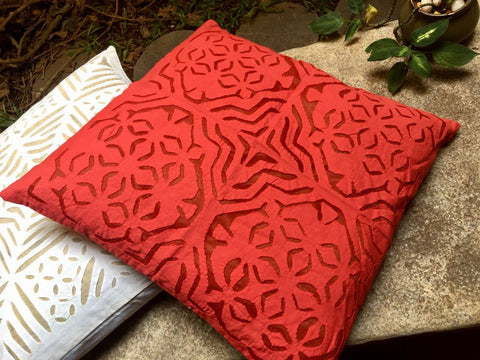 Dark Red Cutwork Cushion Cover