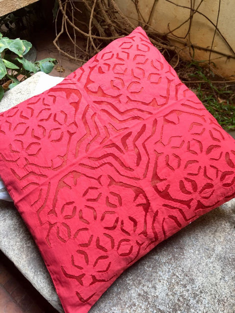 Pink Cutwork Cushion Cover