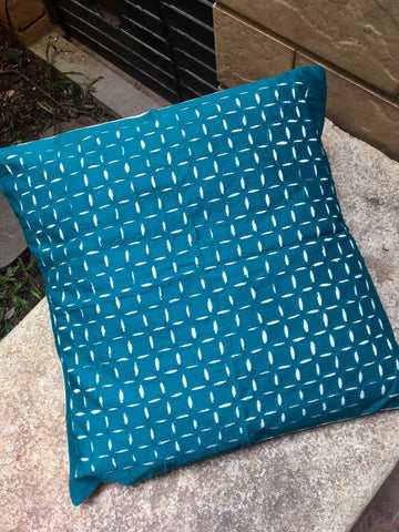 Greenish Blue Cutwork Cushion Cover