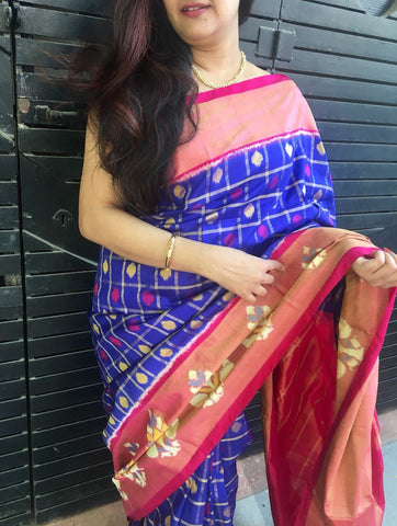 Blue with Pink Ikkat Silk Saree