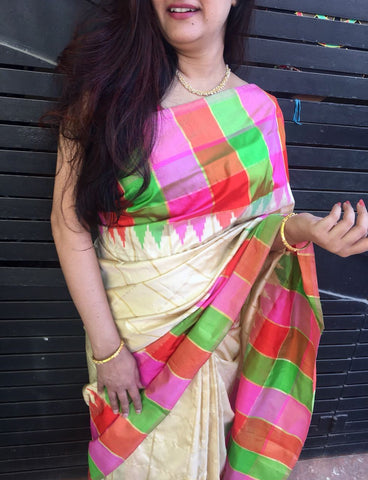 Half white with Rose Pink Ikkat Silk Saree