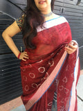 Maroon Linen Saree with contrast border