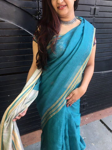 Bluish Green Linen Saree with Cream Pallu