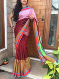 Handwoven Maroon Linen Saree with contrast border