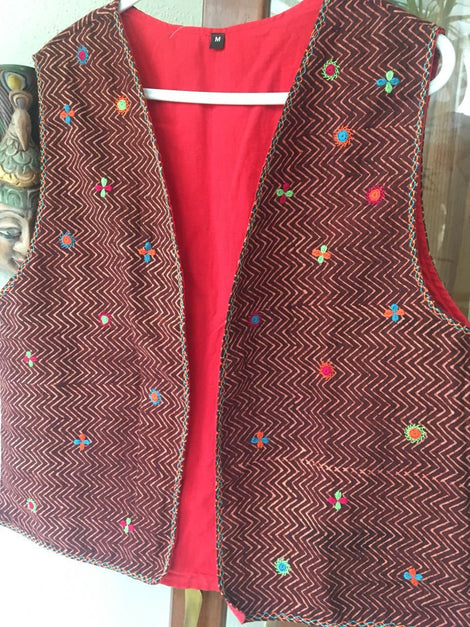 Maroon Hand Embroidered Jacket