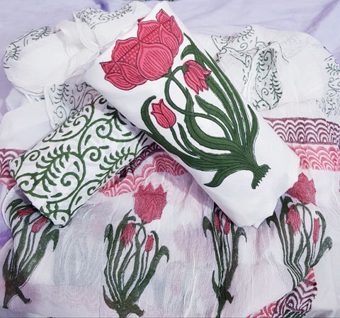 Pink Floral Hand block prints with White based Cotton Dress Material