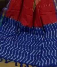 Ink blue and red Exclusive ikkat cotton dress material
