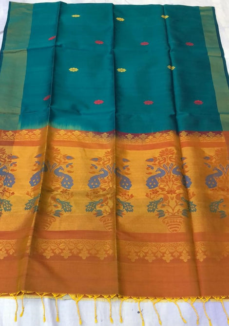 Indigo Blue ikkat soft Silk Saree