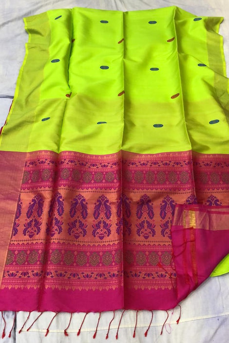 Greenish Yellow ikkat soft Silk Saree
