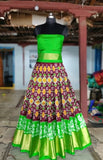 Brown and parrot green  Ikkat silk lehenga with choli