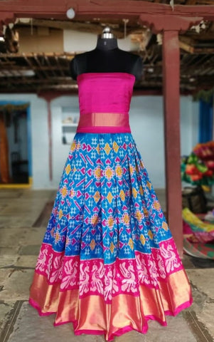 Ink blue and Pink Ikkat silk lehenga with choli