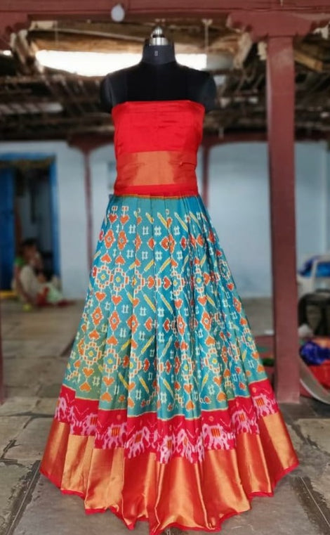 Grey and red Ikkat silk lehenga with choli