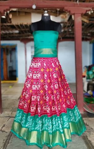 Pink Ikkat silk lehenga with choli