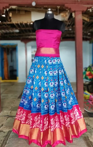 Blue and Pink Ikkat silk lehenga with choli