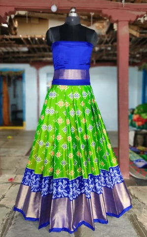 Parrot green  Ikkat silk lehenga with choli