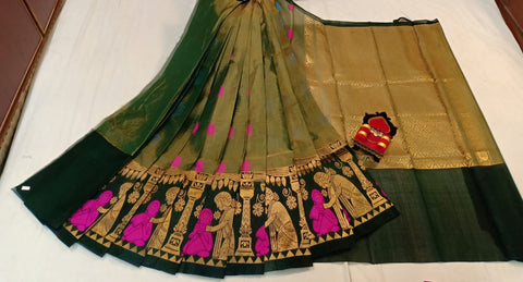 Olive green kuppadam silk tissue saree