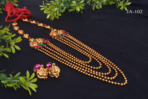 Gold plated five layered jewellry set with beautiful matching earrings