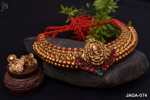 Gold plated choker set of ganesha pendant with beautiful matching earrings