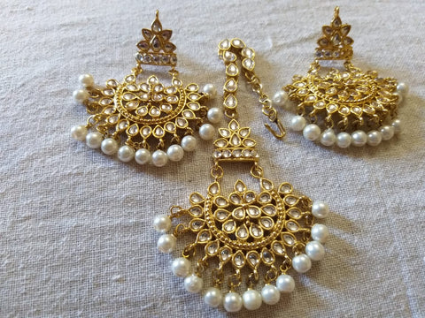 German Beaded gold plated Danglers with maang teeka