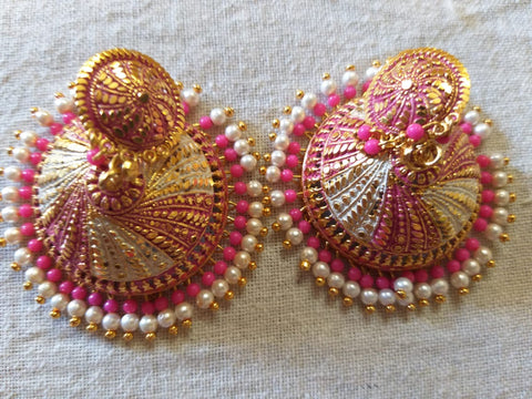Enamel finish pink with gold big  jhumkas