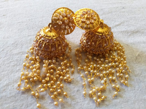 Gold big  jhumkas with pearls