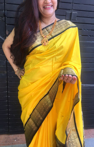 Yellow with Black Border Maharashtra Silk Saree