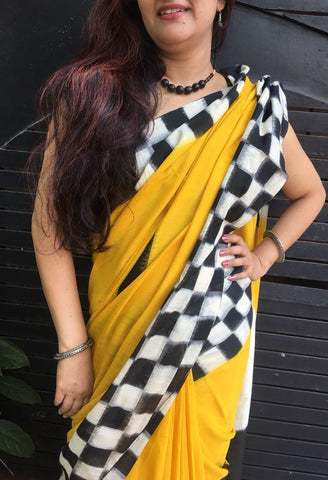 Yellow with Black and White Checks Design Ikkat Cotton Saree