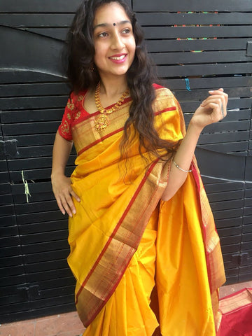 Yellow with Red Border Maharashtra Silk Saree