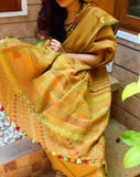 apricot handloom cotton ilkal saree with multicolour handembroidered pallu with tassels