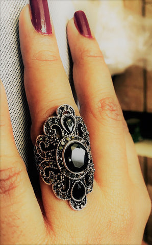 black big natural cut stone ring